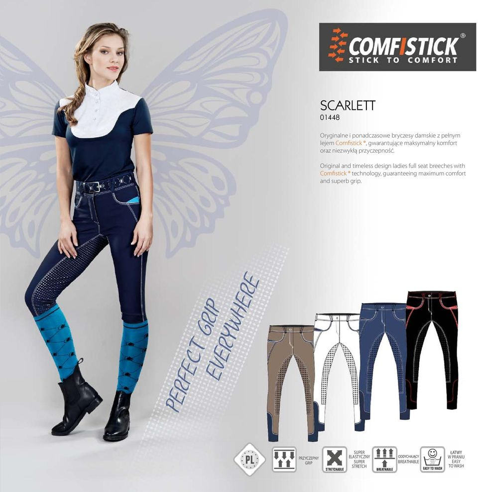 Original and timeless design ladies full seat breeches with Comfistick technology,