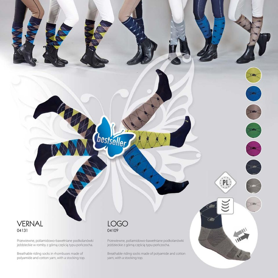 Breathable riding socks in rhombuses made of polyamide and cotton yarn, with a stocking top.