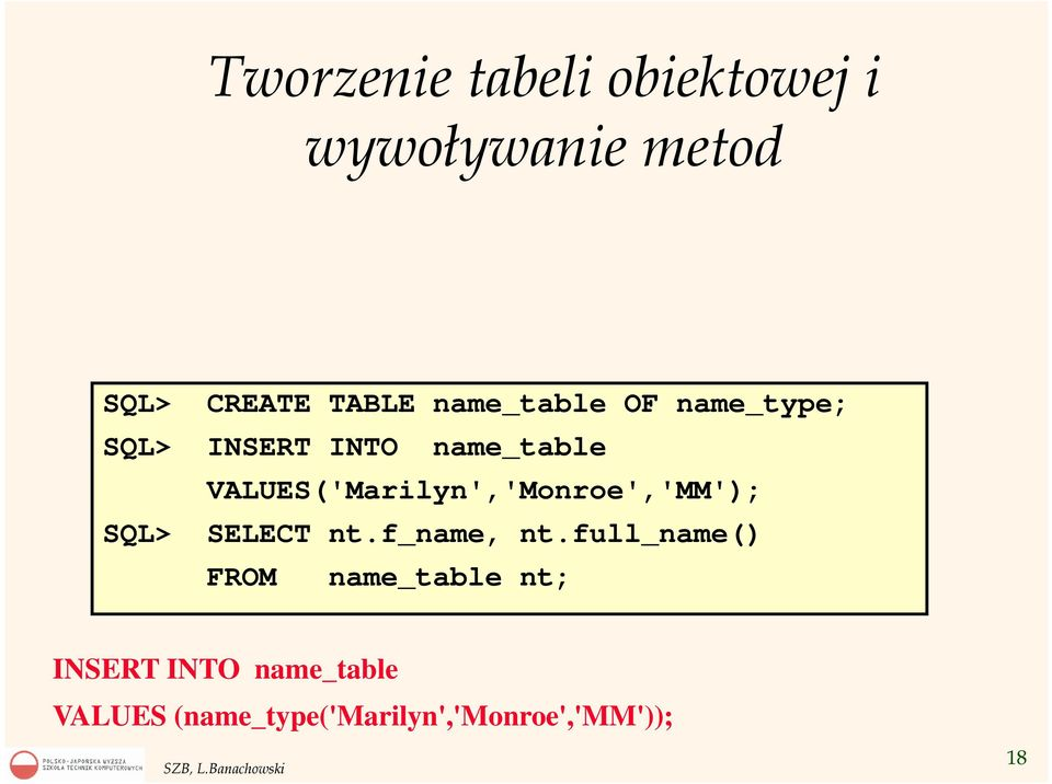 VALUES('Marilyn','Monroe','MM'); SQL> SELECT nt.f_name, nt.