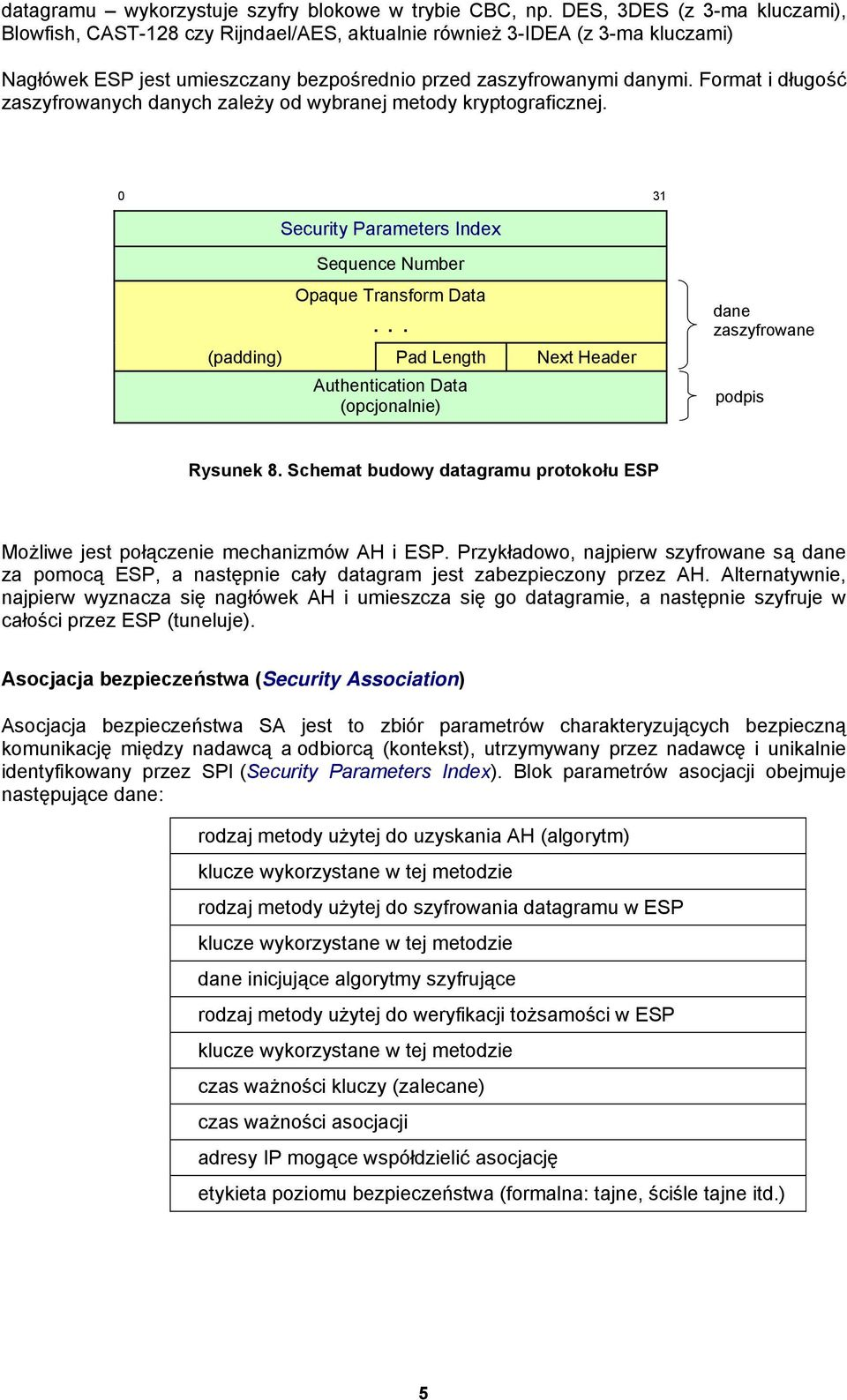 Format i długość zaszyfrowanych danych zależy od wybranej metody kryptograficznej. 0 31 Security Parameters Index Sequence Number Opaque Transform Data.