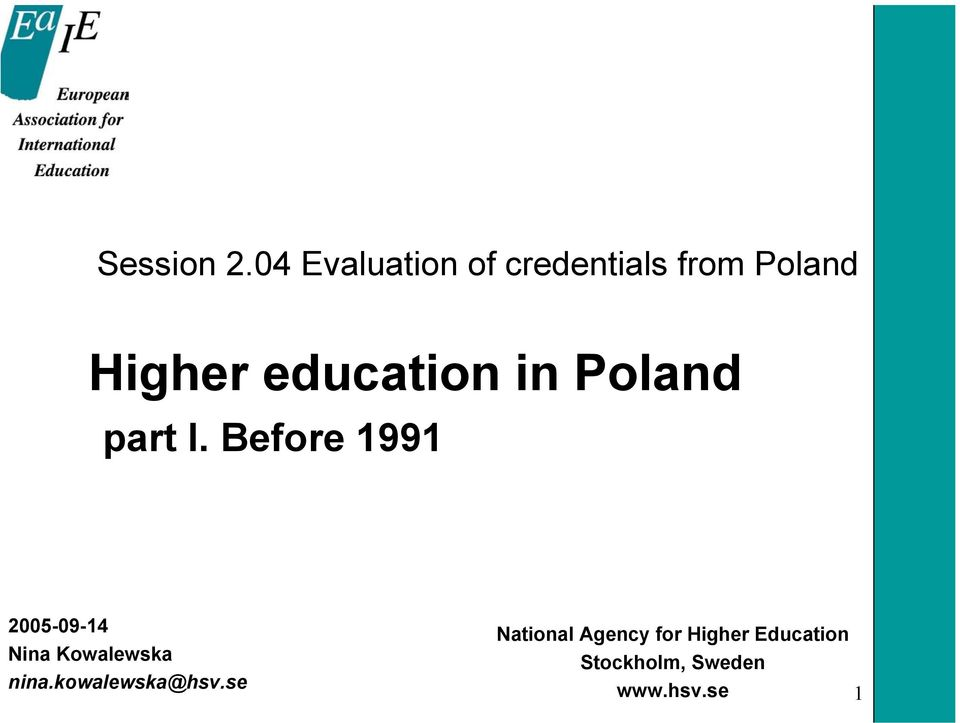 education in Poland part I.