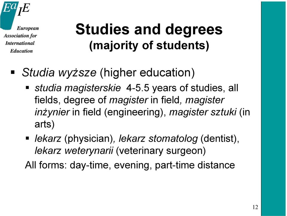 5 years of studies, all fields, degree of magister in field, magister inżynier in field
