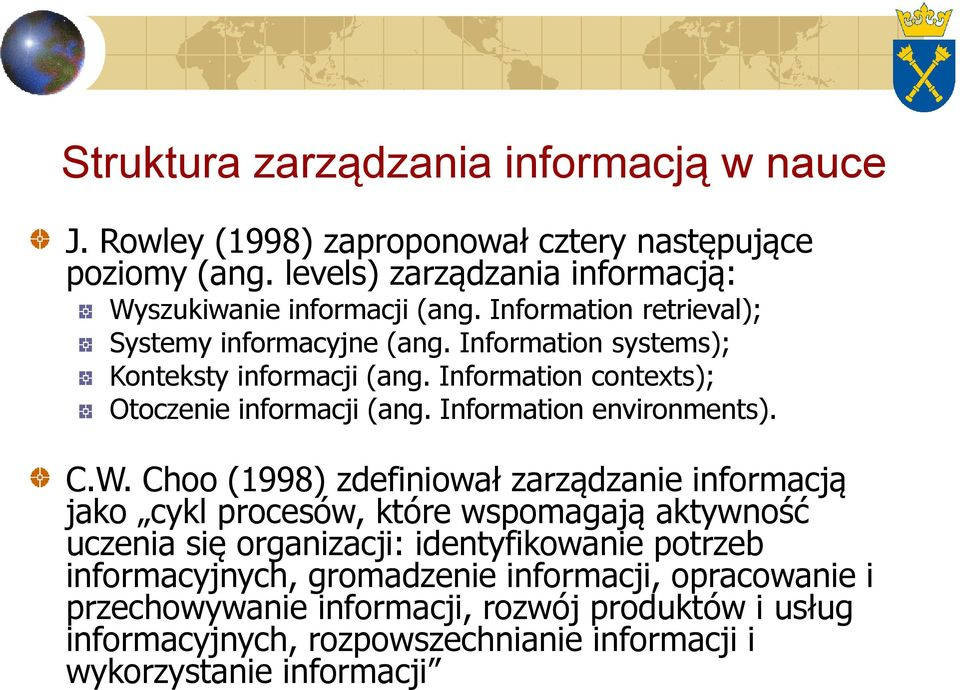 Information environments). C.W.