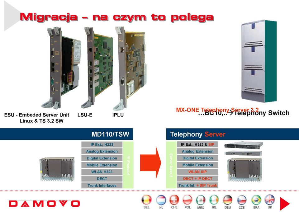 . Telephony Switch MD110/TSW Telephony Server IP Ext.; H323 IP Ext.