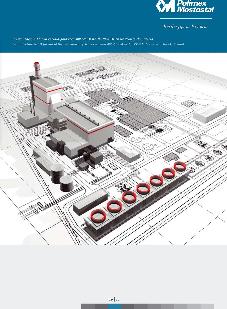 in 3D format of the combained cycle power plant