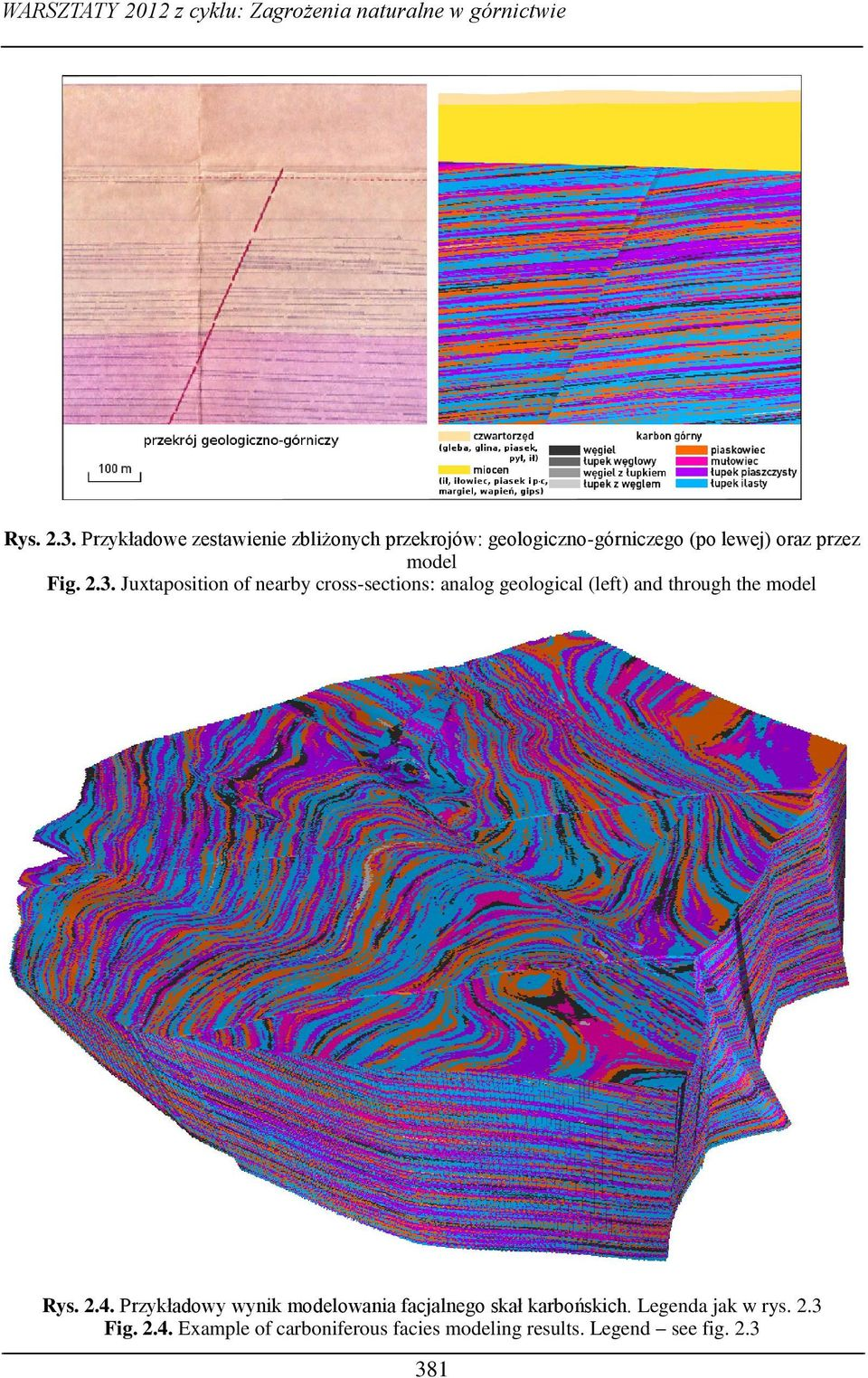 Juxtaposition of nearby cross-sections: analog geological (left) and through the model Rys. 2.4.
