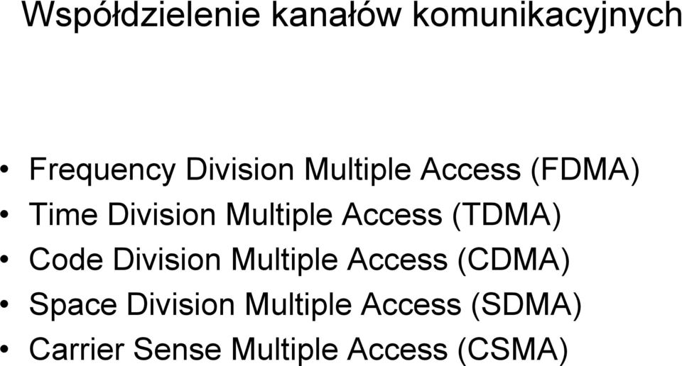 (TDMA) Code Division Multiple Access (CDMA) Space
