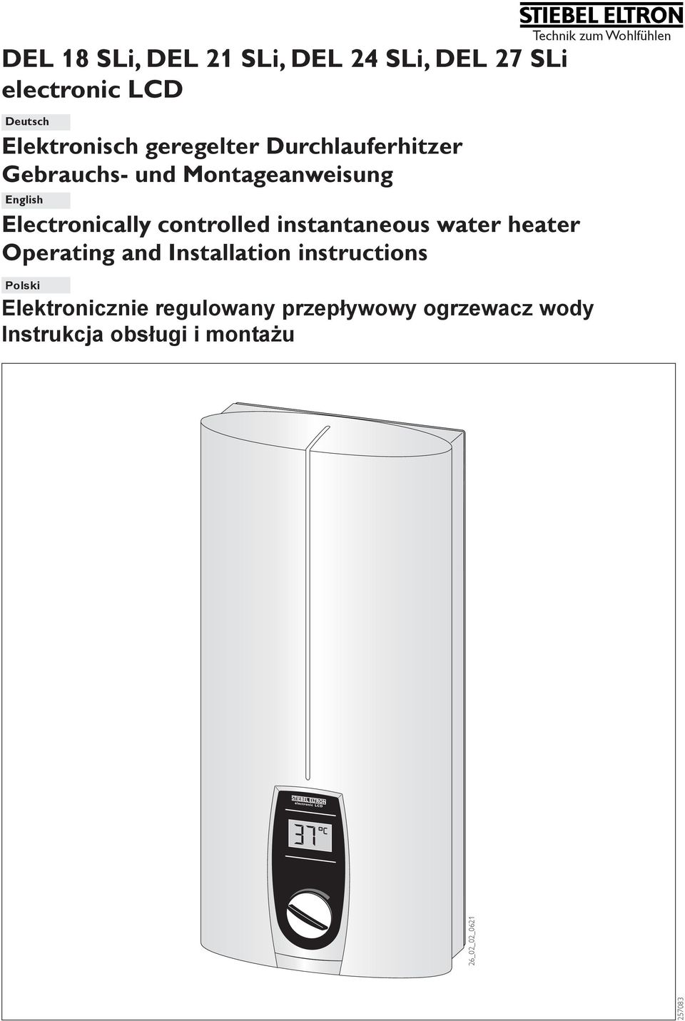 controlled instantaneous water heater Operating and Installation instructions Elektronicznie