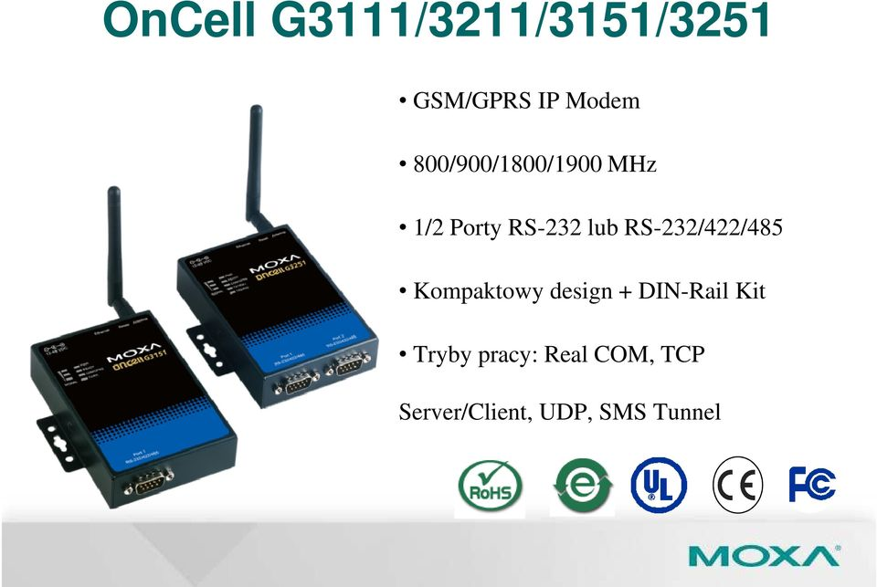 RS-232/422/485 Kompaktowy design + DIN-Rail Kit