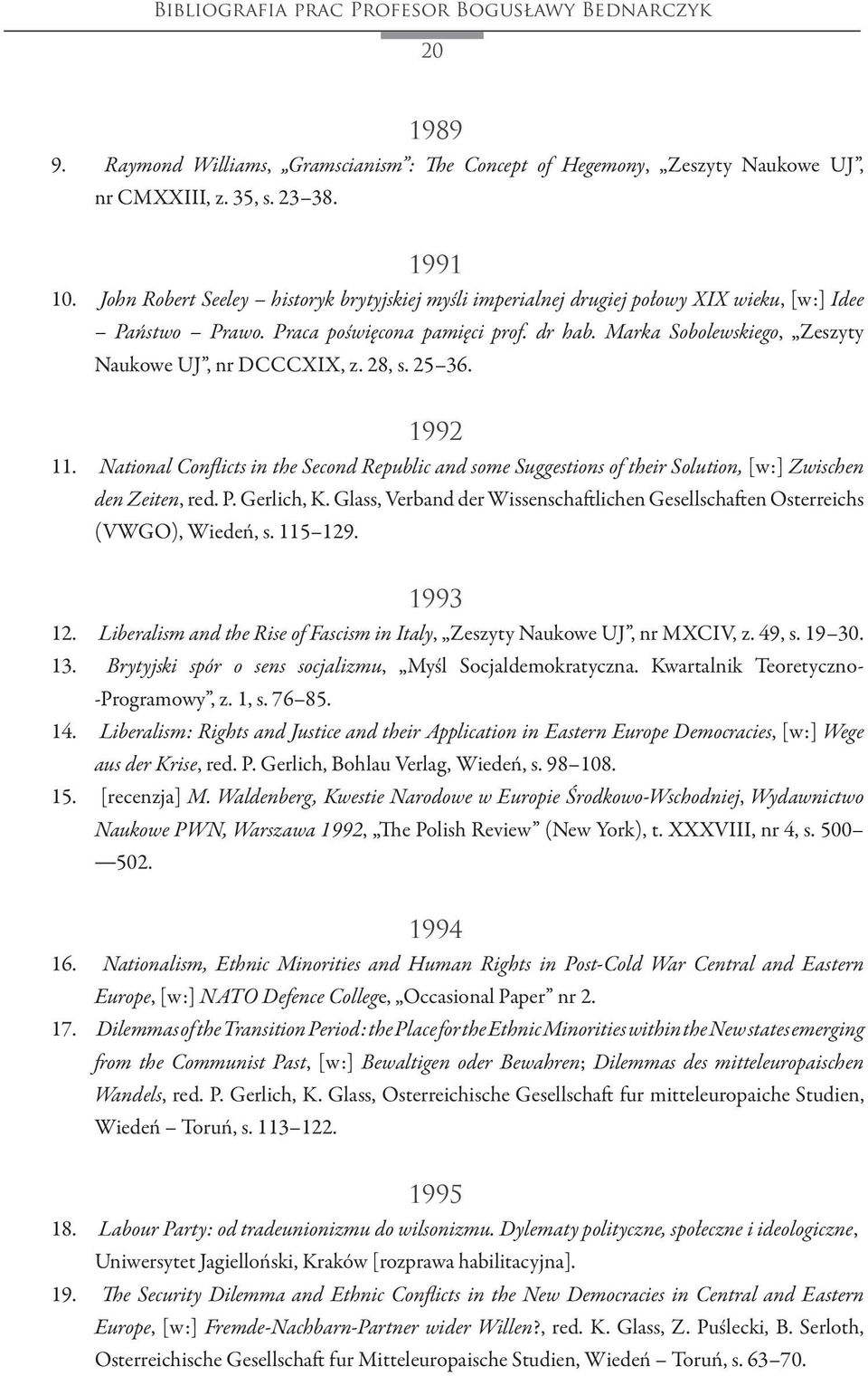 Marka Sobolewskiego, Zeszyty Naukowe UJ, nr DCCCXIX, z. 28, s. 25 36. 1992 11. National Conflicts in the Second Republic and some Suggestions of their Solution, [w:] Zwischen den Zeiten, red. P.