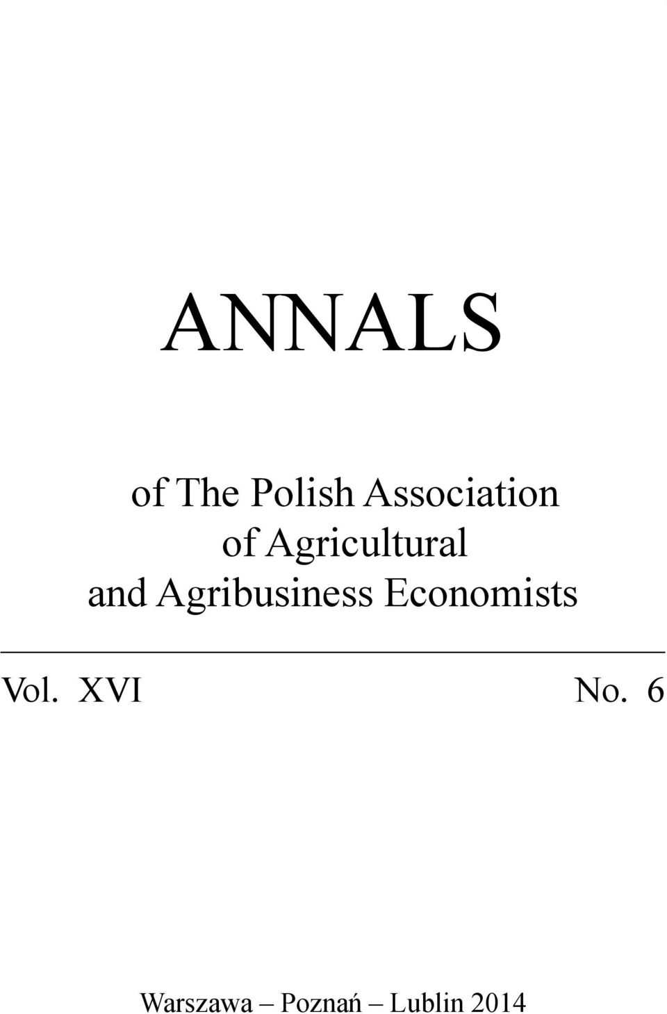and Agribusiness Economists