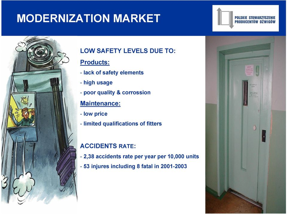 low price - limited qualifications of fitters ACCIDENTS RATE: - 2,38