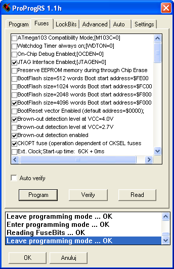 Figure 14. ProProgRS - Settings. W zakładce Fuses ustawiamy następujące bity: JTAG Interface Enabled [JTAGEN=0] BootFlasch size=4096 words Boot start address=$f000 Brown-out detection level at VCC=4.