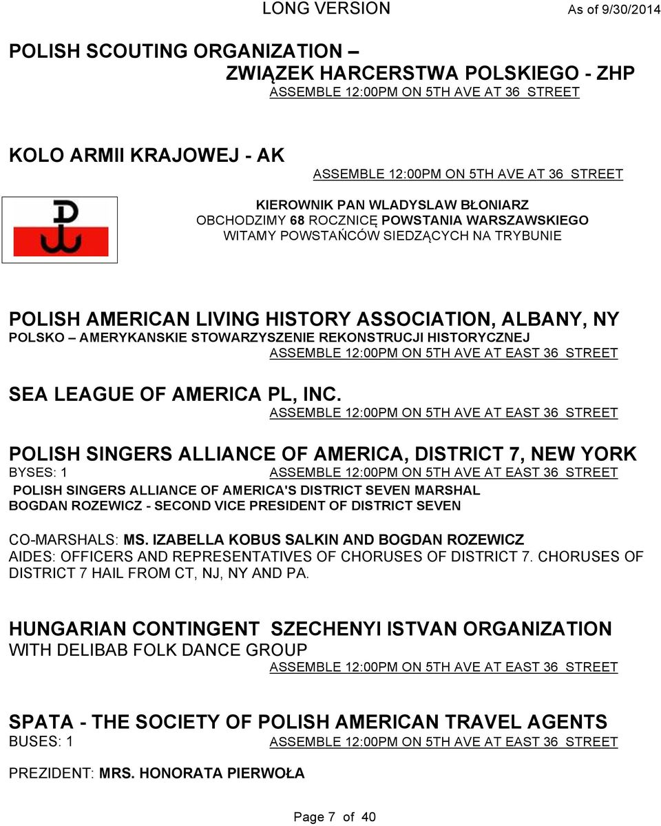 HISTORYCZNEJ ASSEMBLE 12:00PM ON 5TH AVE AT EAST 36 STREET SEA LEAGUE OF AMERICA PL, INC.