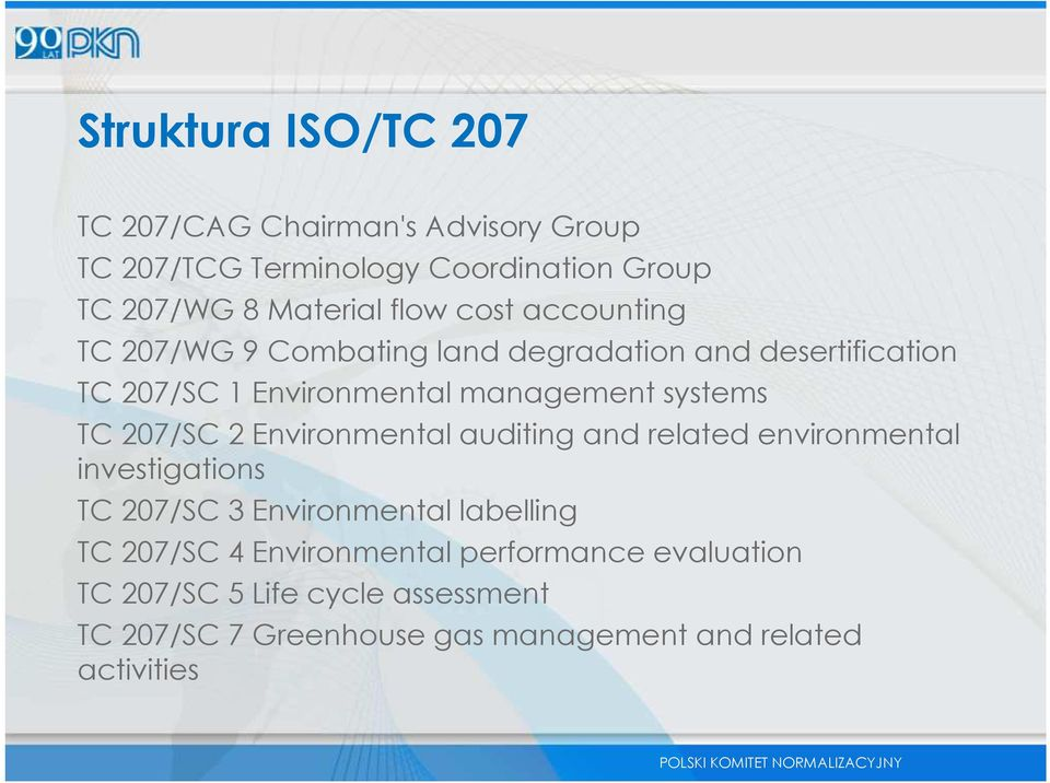 TC 207/SC 2Environmental auditing and related environmental investigations TC 207/SC 3Environmental labelling TC 207/SC