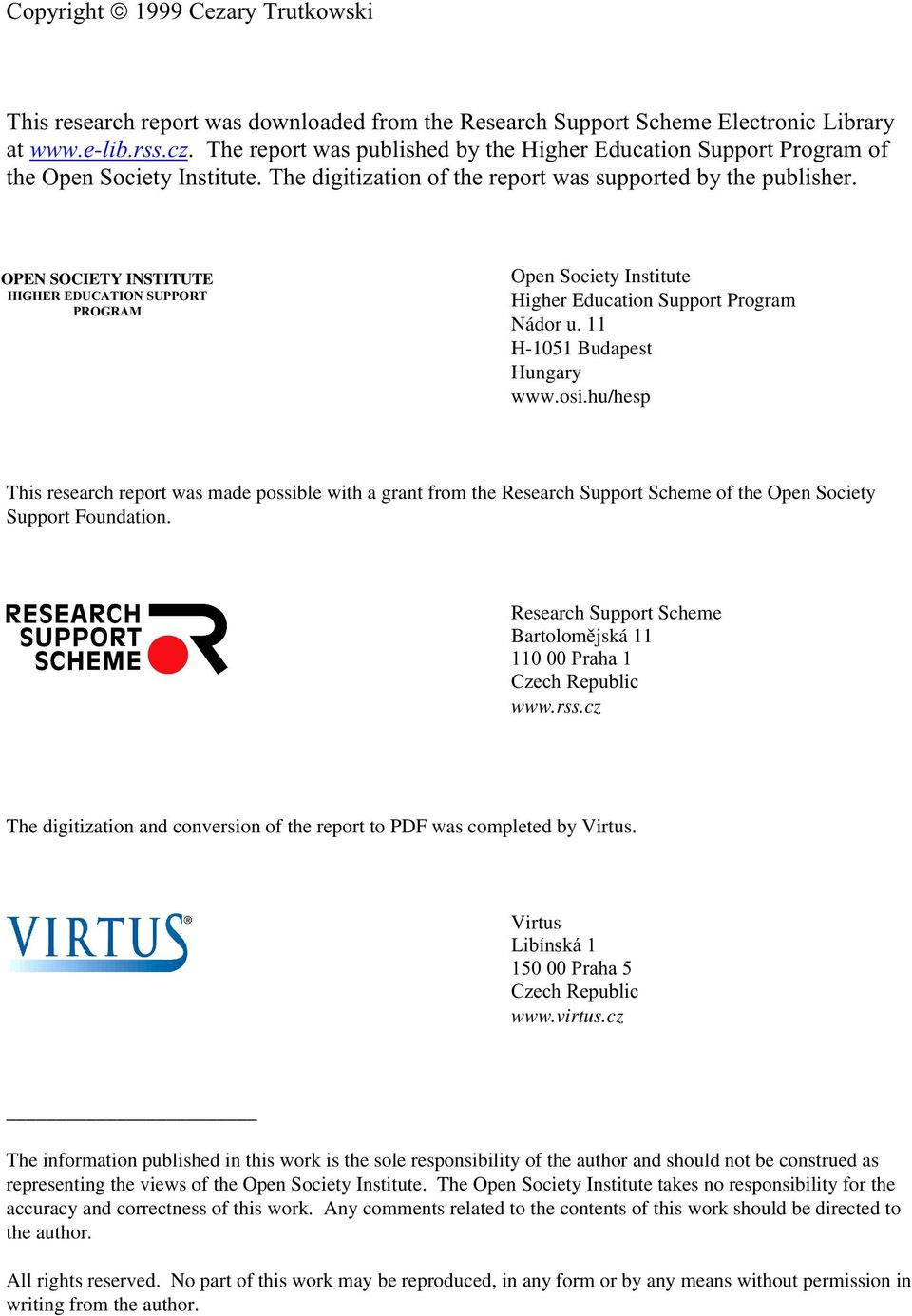 "cz The digitization and conversion of the report to PDF was completed by Virtus. Virtus &' (%%%""( www.virtus."