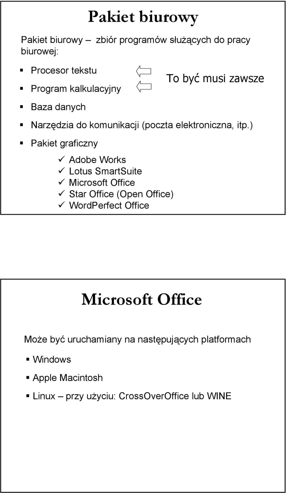 ) Pakiet graficzny Adobe Works Lotus SmartSuite Microsoft Office Star Office (Open Office) WordPerfect Office