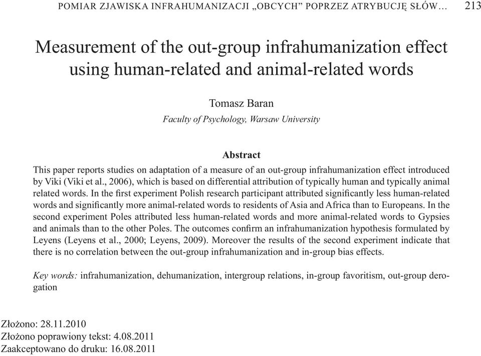 , 2006), which is based on differential attribution of typically human and typically animal related words.