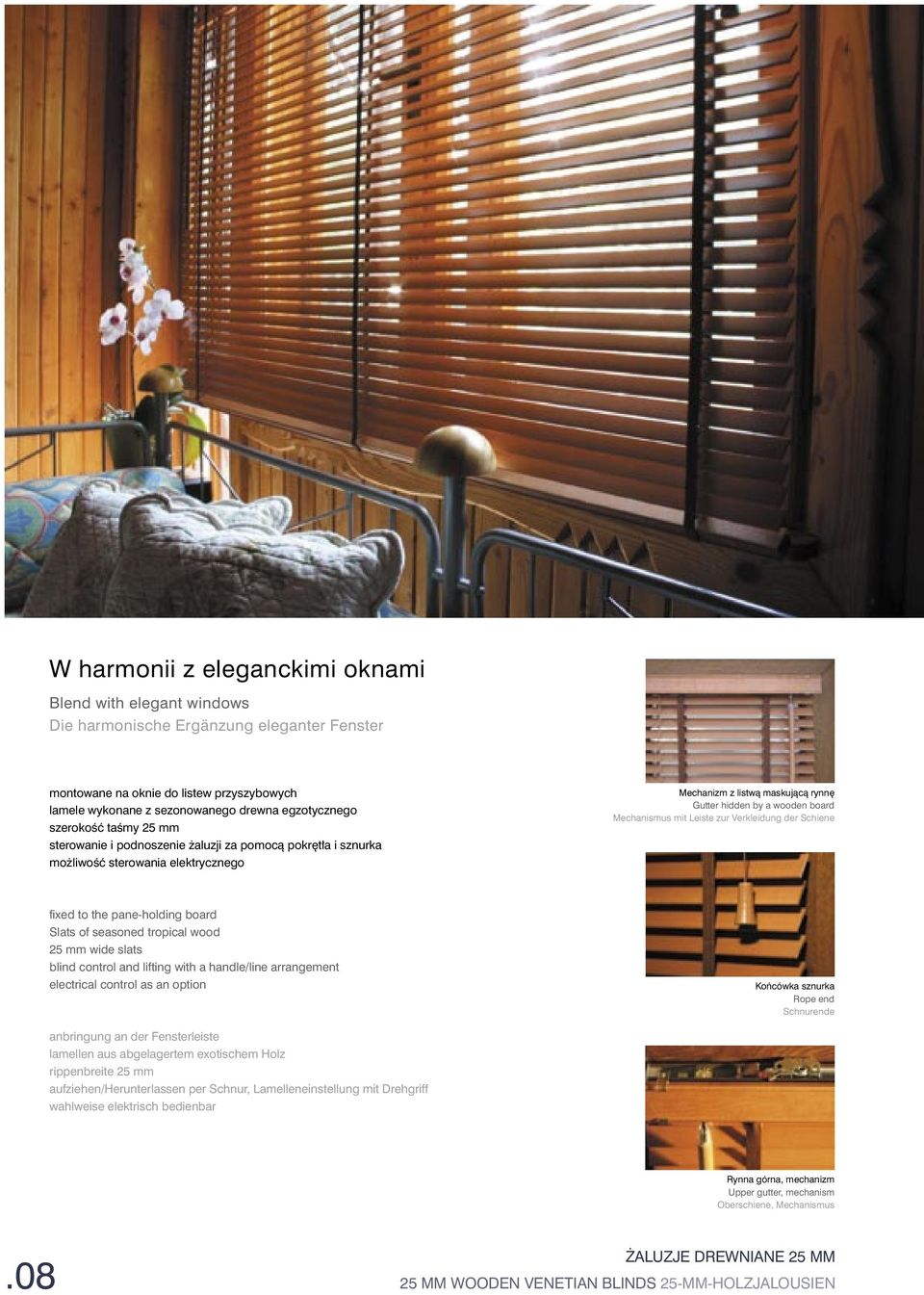 mit Leiste zur Verkleidung der Schiene fixed to the pane-holding board Slats of seasoned tropical wood 25 mm wide slats blind control and lifting with a handle/line arrangement electrical control as