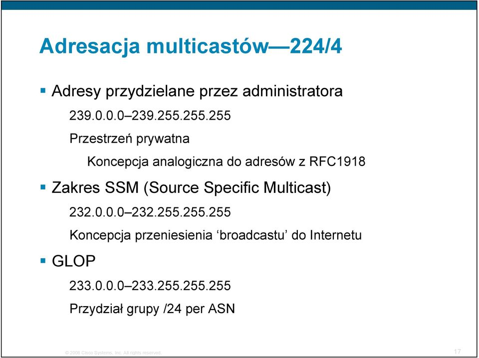 Specific Multicast) GLOP 232.0.0.0 232.255.