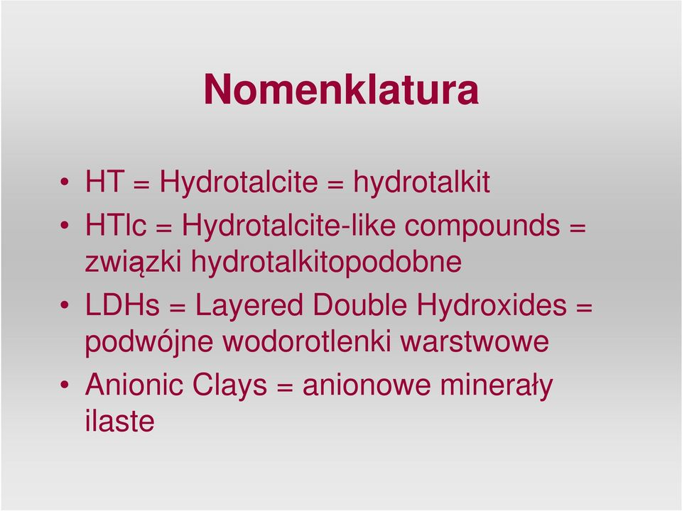hydrotalkitopodobne LDHs = Layered Double Hydroxides =