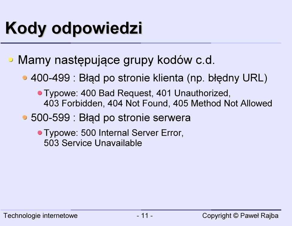 Not Found, 405 Method Not Allowed 500-599 : Błąd po stronie serwera