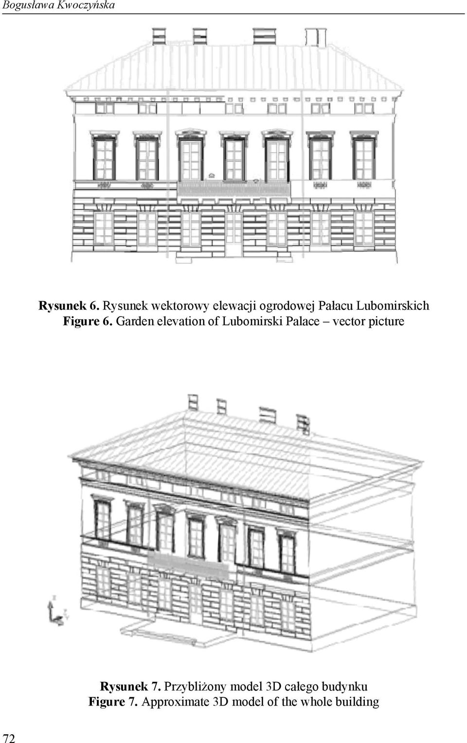 6. Garden elevation of Lubomirski Palace vector picture Rysunek
