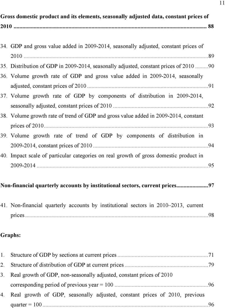 .. 91 37. Volume growth rate of GDP by components of distribution in 2009-2014, seasonally adjusted, constant prices of 2010... 92 38.