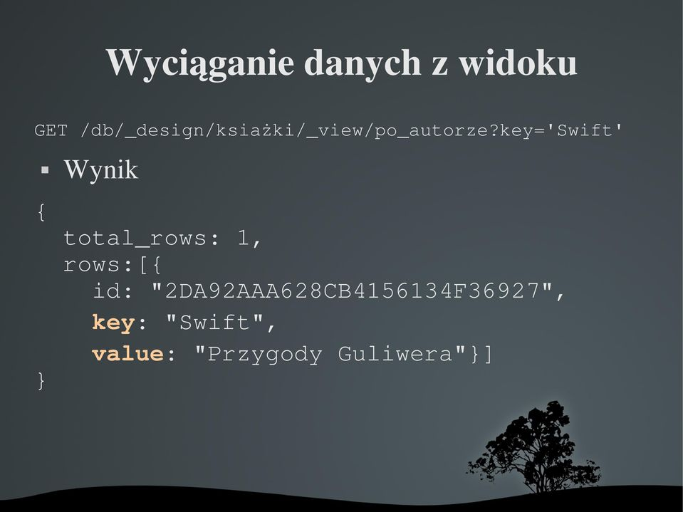 key='swift' { } Wynik total_rows: 1, rows:[{