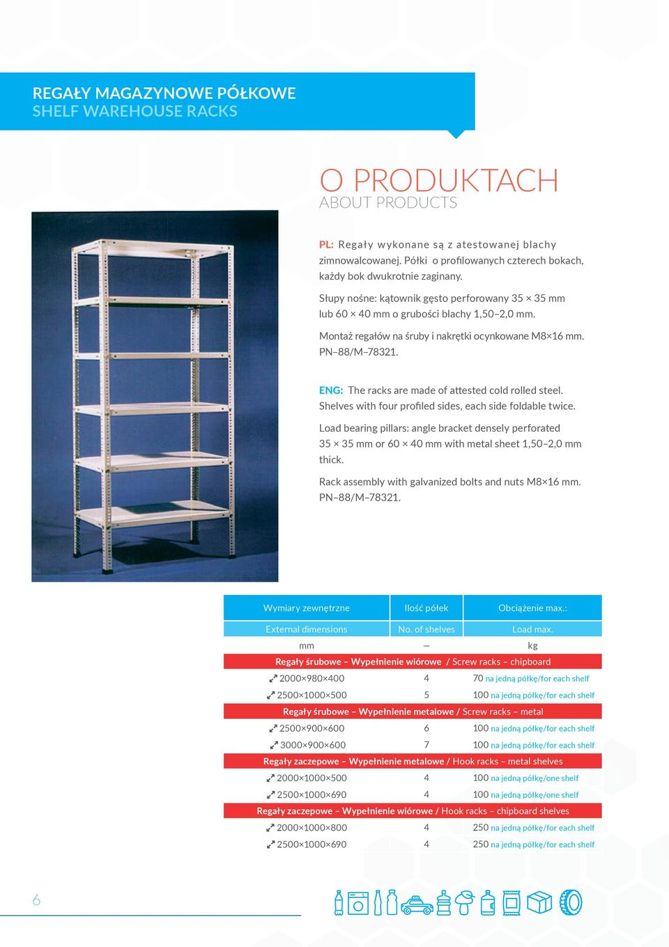 Montaż regałów na śruby i nakrętki ocynkowane M8 16 mm. PN 88/M 78321. ENG: The racks are made of attested cold rolled steel. Shelves with four profiled sides, each side foldable twice.