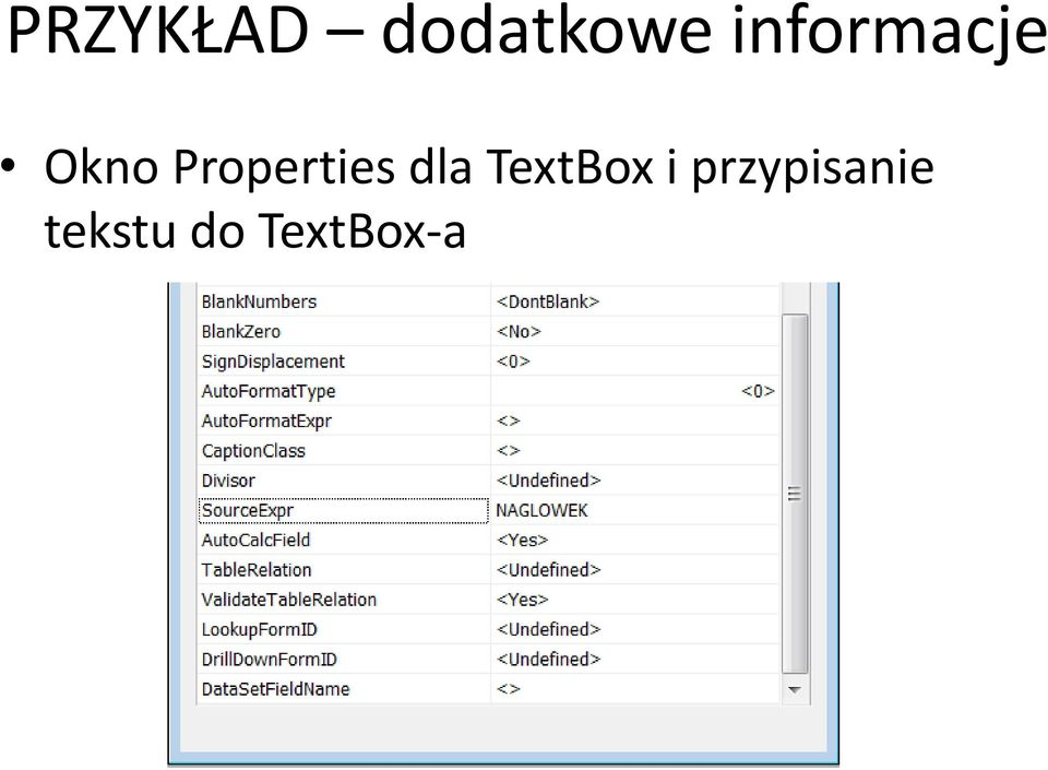 Properties dla TextBox