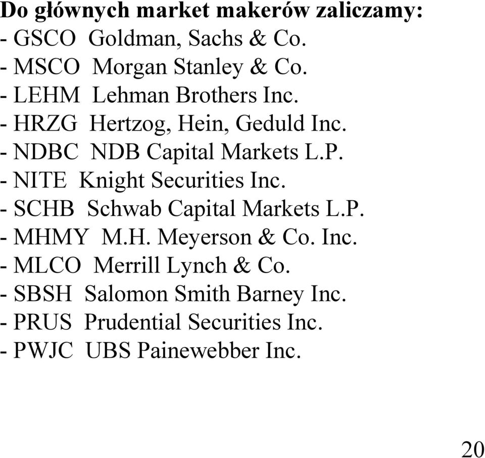 - NITE Knight Securities Inc. - SCHB Schwab Capital Markets L.P. - MHMY M.H. Meyerson & Co. Inc. - MLCO Merrill Lynch & Co.
