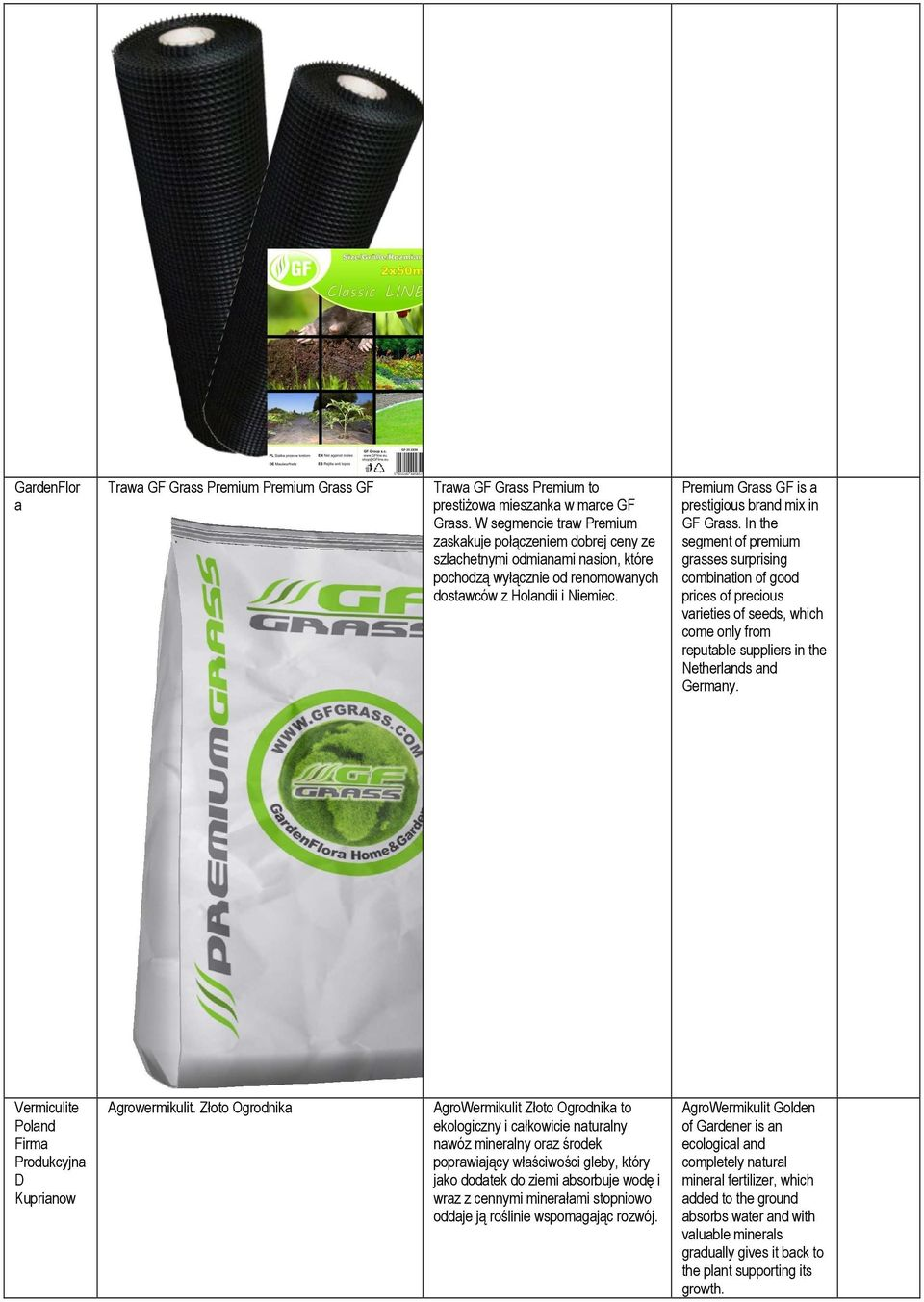 Premium Grass GF is a prestigious brand mix in GF Grass.