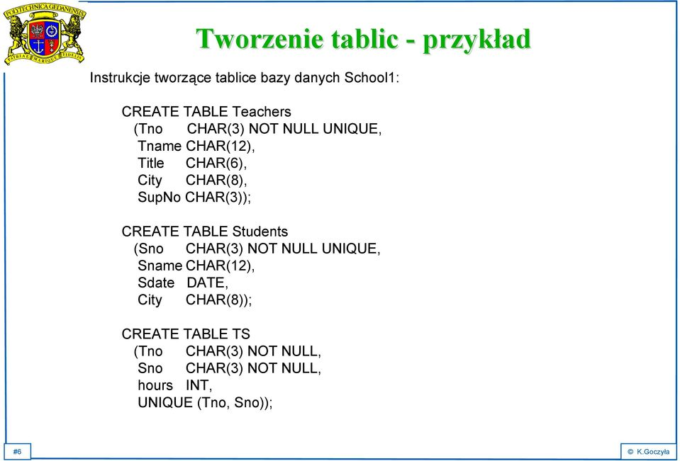 CHAR(3)); CREATE TABLE Students (Sno CHAR(3) NOT NULL UNIQUE, Sname CHAR(12), Sdate DATE, City