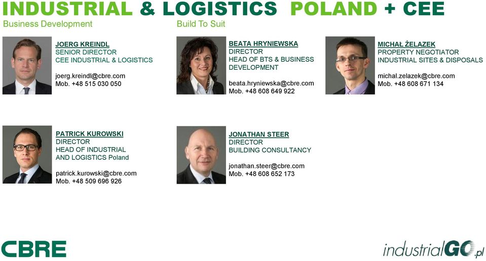 zelazek@cbre.com Mob. +48 608 671 134 PATRICK KUROWSKI DIRECTOR HEAD OF INDUSTRIAL AND LOGISTICS Poland patrick.kurowski@cbre.com Mob. +48 509 696 926 JONATHAN STEER DIRECTOR BUILDING CONSULTANCY jonathan.