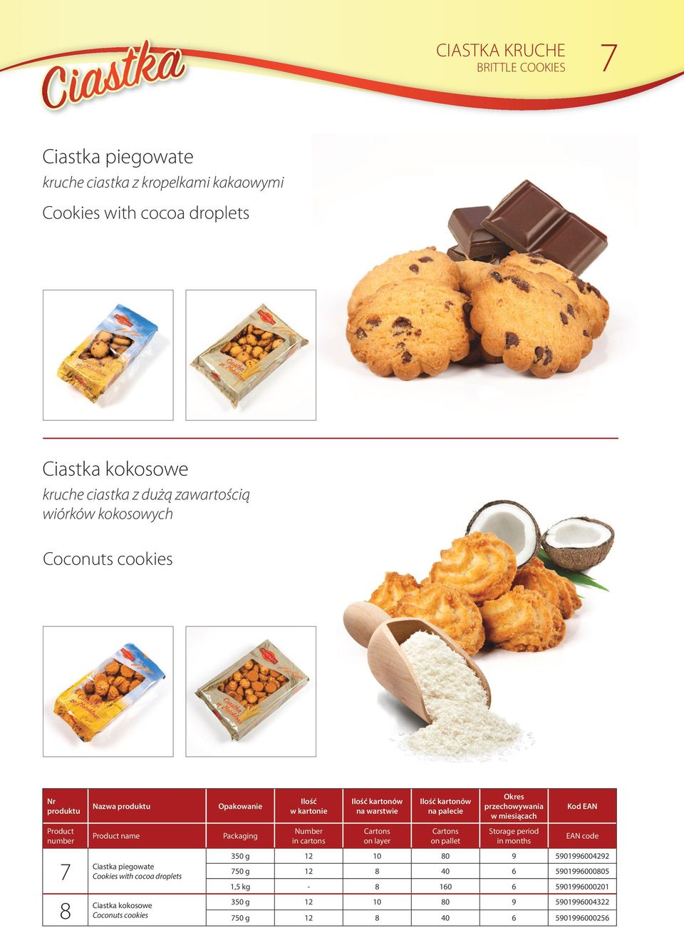 Ciastka piegowate Cookies with cocoa droplets Ciastka kokosowe Coconuts cookies 350 g 12 10 80 9 5901996004292