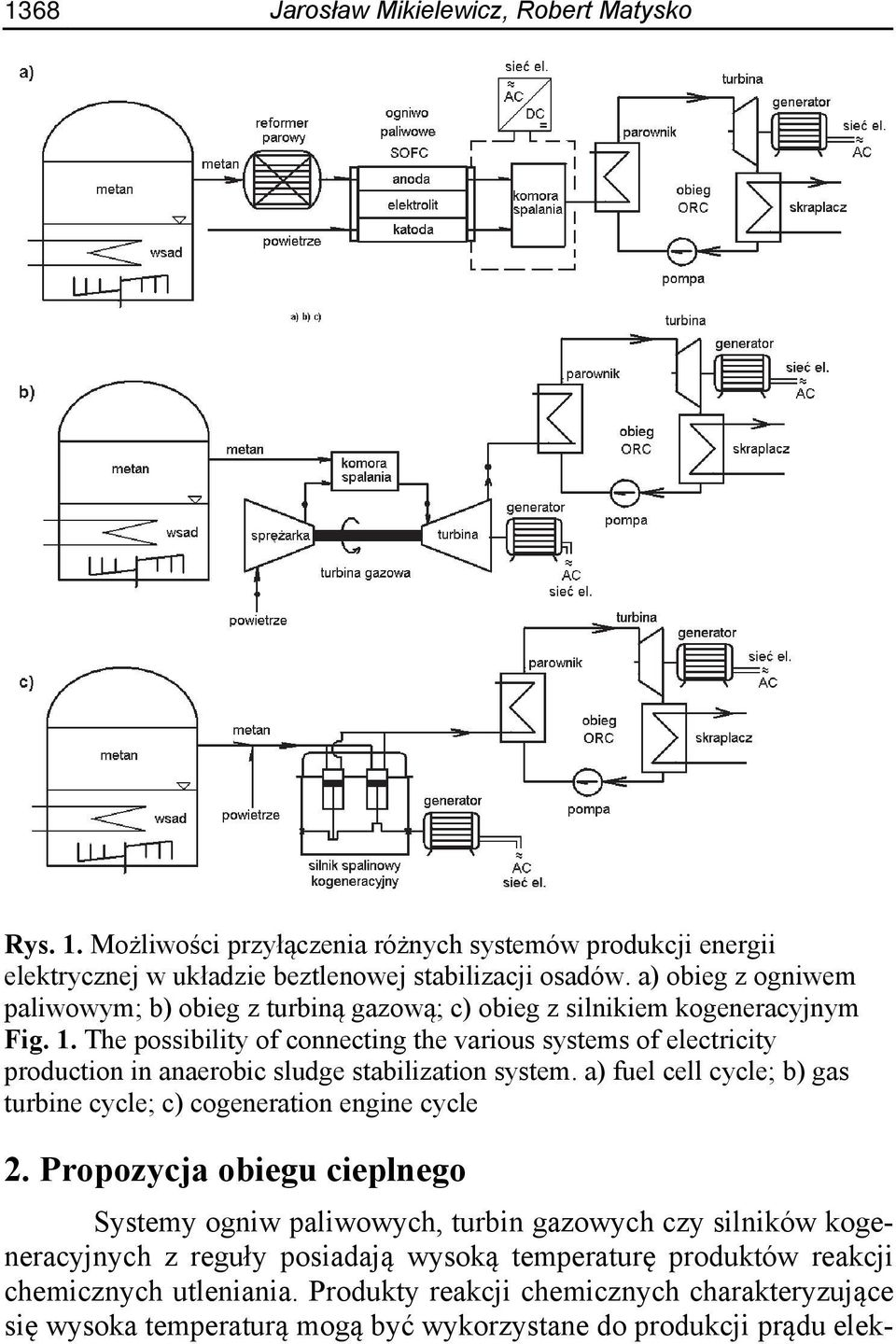 The possibility of connecting the various systems of electricity production in anaerobic sludge stabilization system.