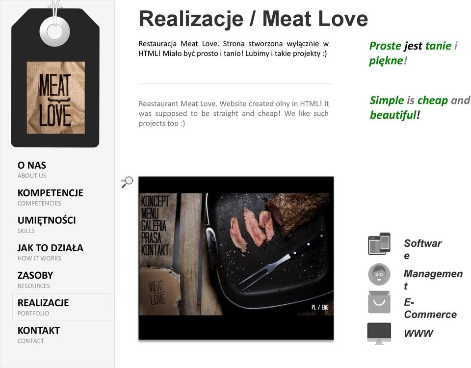 Reastaurant Meat Love. Website created olny in HTML!