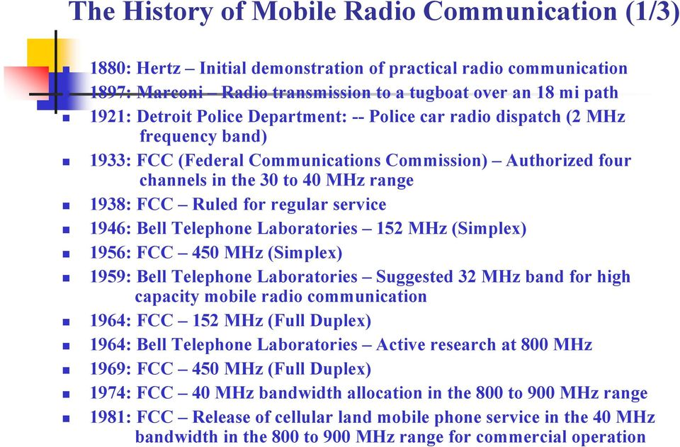 service 1946: Bell Telephone Laboratories 152 MHz (Simplex) 1956: FCC 450 MHz (Simplex) 1959: Bell Telephone Laboratories Suggested 32 MHz band for high capacity mobile radio communication 1964: FCC