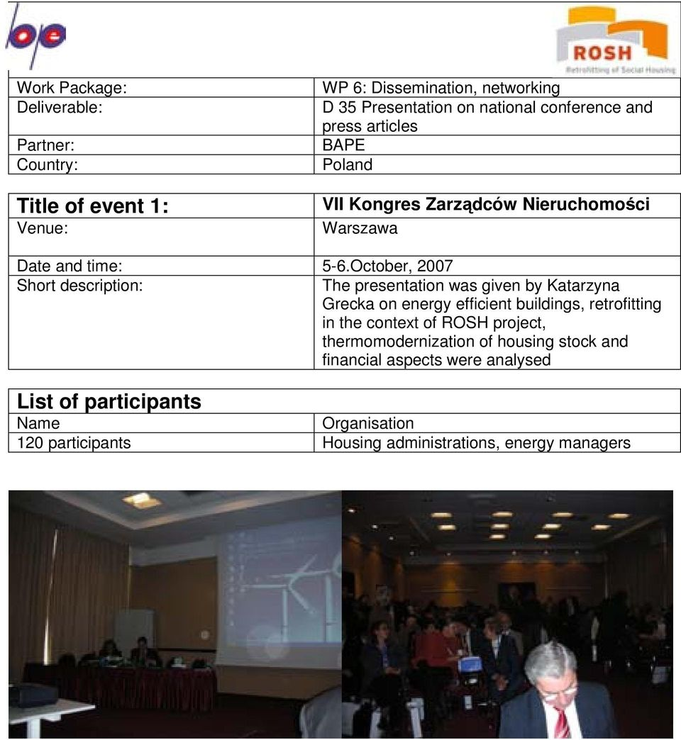 October, 2007 Short description: The presentation was given by Katarzyna Grecka on energy efficient buildings, retrofitting in the context