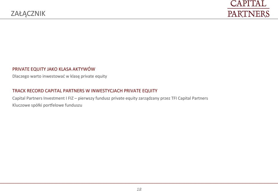 EQUITY Capital Partners Investment I FIZ pierwszy fundusz private equity