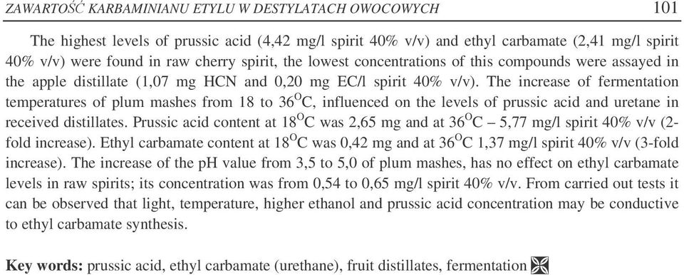 The increase of fermentation temperatures of plum mashes from 18 to 36 O C, influenced on the levels of prussic acid and uretane in received distillates.