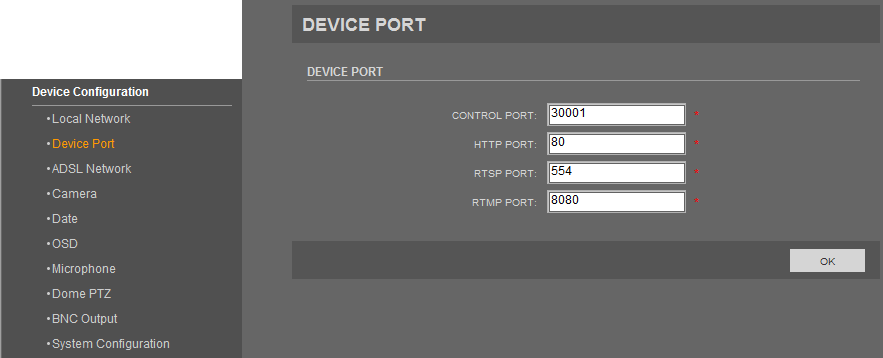 NVIP-1DN5000H/IR-1P User s manual ver.1.0 WWW INTERFACE - WORKING WITH IP CAMERA 4.5.2. Device Port Device Port menu allows user to change device port numbers.
