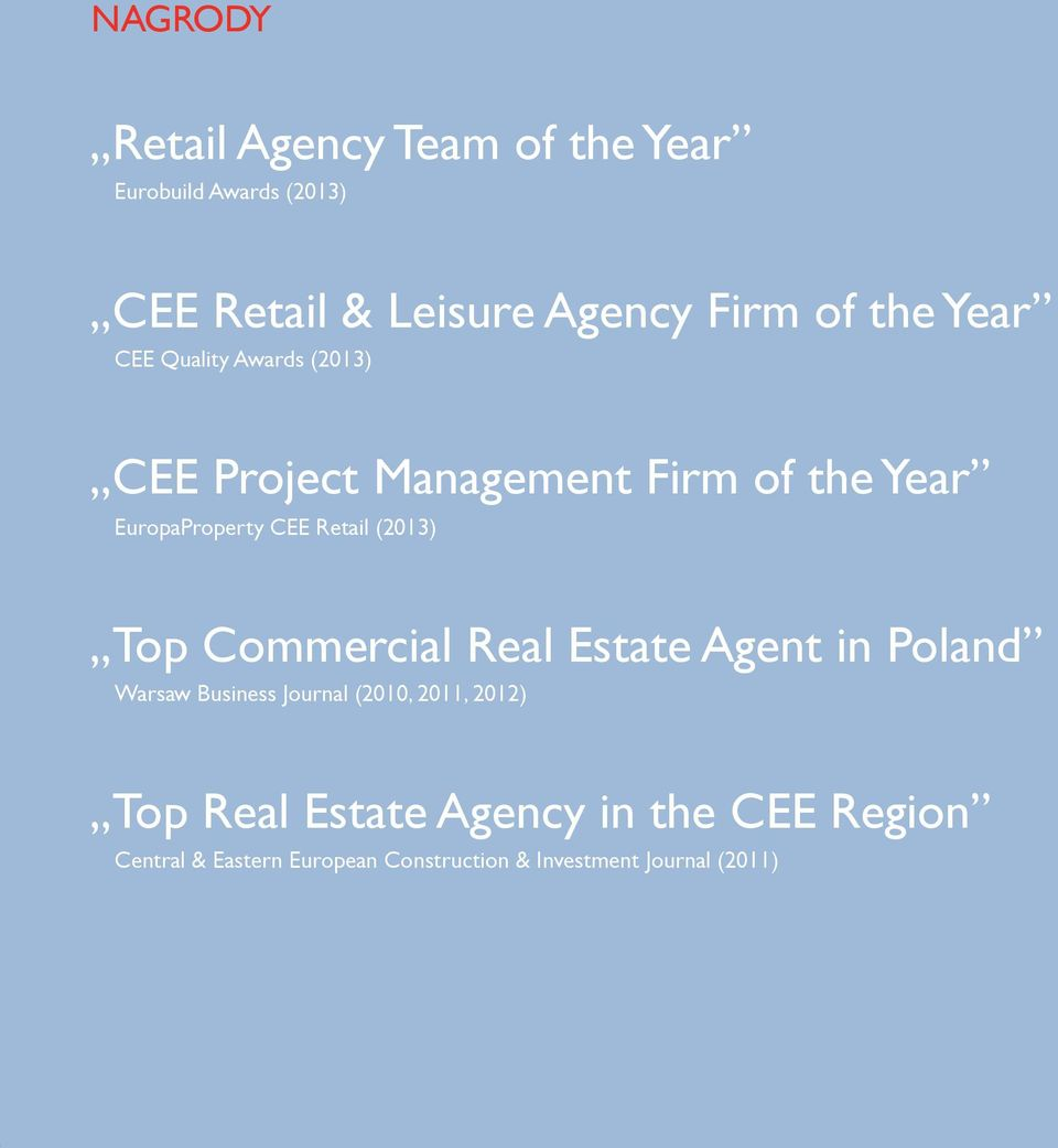 Top Commercial Real Estate Agent in Poland Warsaw Business Journal (2010, 2011, 2012) Top Real Estate