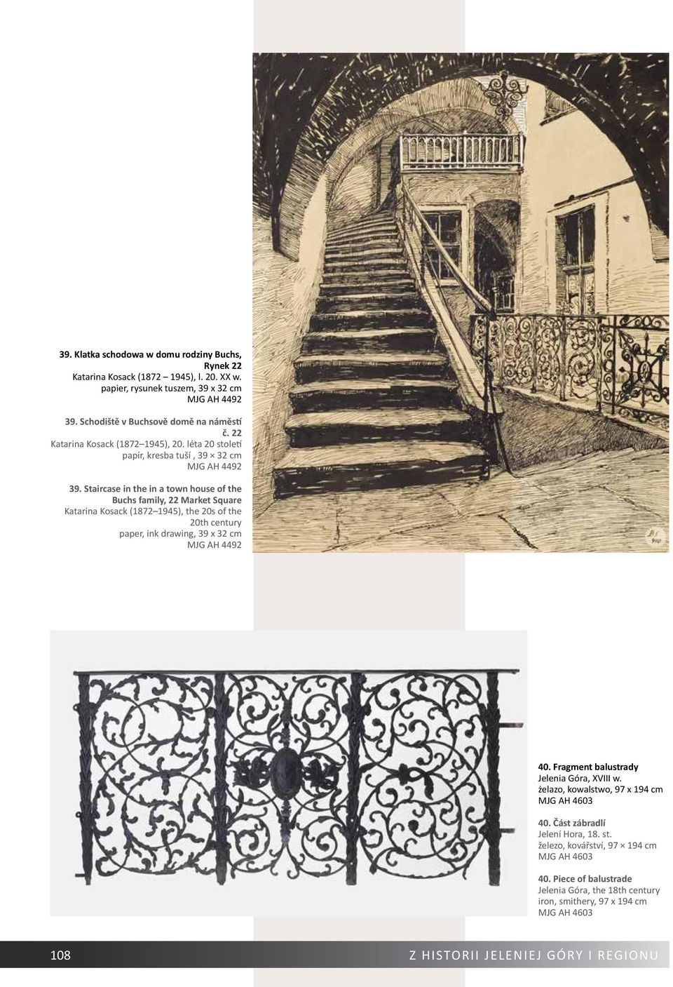 Staircase in the in a town house of the Buchs family, 22 Market Square Katarina Kosack (1872 1945), the 20s of the 20th century paper, ink drawing, 39 x 32 cm MJG AH 4492 40.