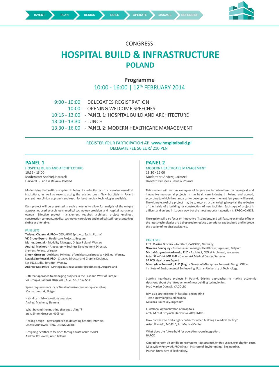 pl DELEGATE FEE 50 EUR/ 210 PLN PANEL 1 PANEL 2 HOSPITAL AND ARCHITECTURE 10:15-13.00 Moderator: Andrzej Jacaszek Harvard Business Review Poland MODERN HEALTHCARE MENT 13:30-16.
