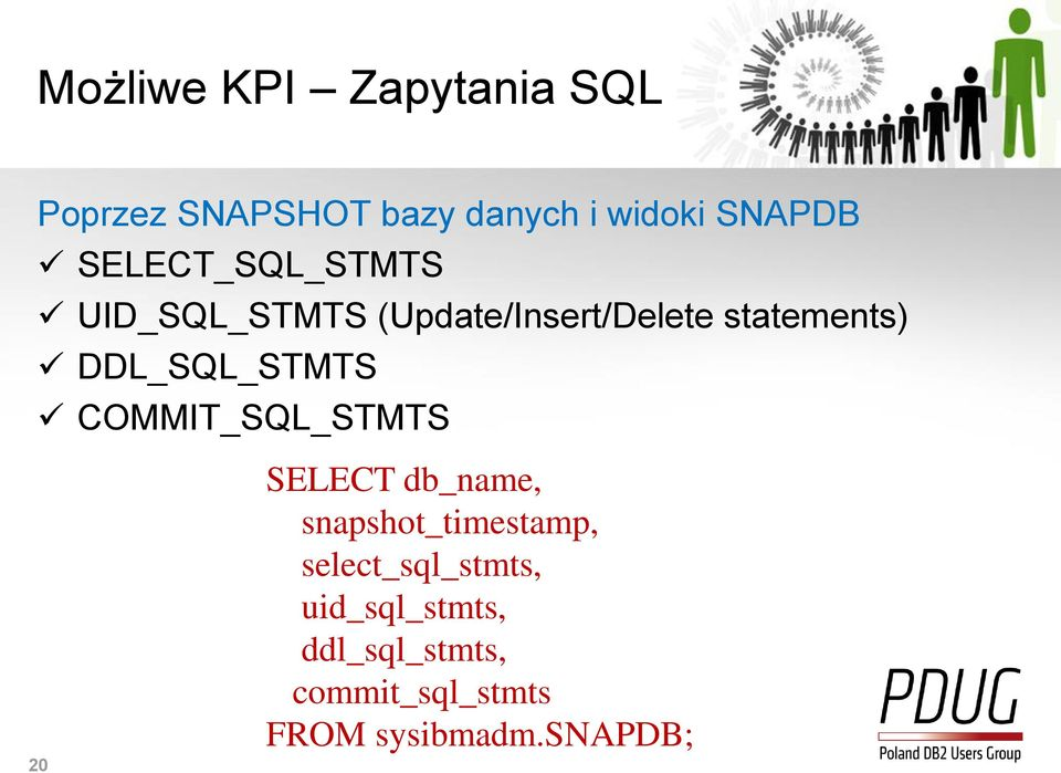 DDL_SQL_STMTS COMMIT_SQL_STMTS 20 SELECT db_name, snapshot_timestamp,