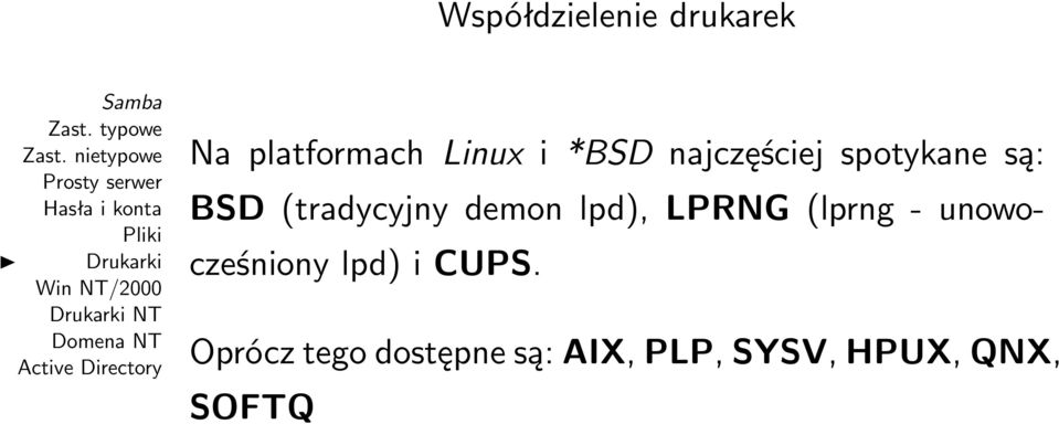 lpd), LPRNG (lprng - unowocześniony lpd) i CUPS.