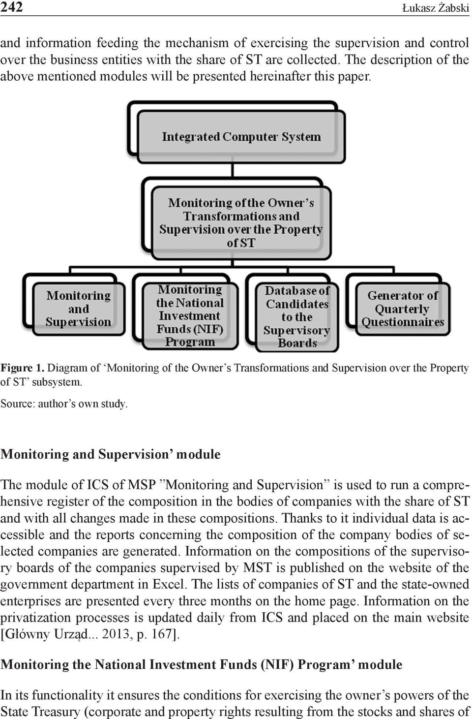 Diagram of Monitoring of the Owner s Transformations and Supervision over the Property of ST subsystem. Source: author s own study.