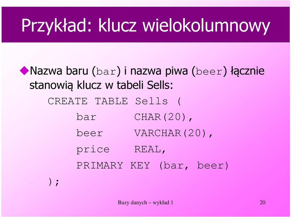 CREATE TABLE Sells ( bar CHAR(20), ); beer price